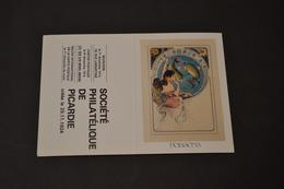 Mini Calendrier 1984 Signe Zodiaque Poissons Mucha Société Philatélique De Picardie - Calendriers