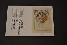 Mini Calendrier 1984 Signe Zodiaque Lion Mucha Société Philatélique De Picardie - Calendriers