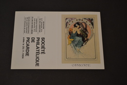 Mini Calendrier 1984 Signe Zodiaque Capricorne Mucha Société Philatélique De Picardie - Calendriers