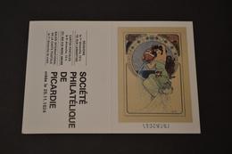 Mini Calendrier 1984 Signe Zodiaque Verseau Mucha Société Philatélique De Picardie - Calendriers