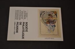 Mini Calendrier 1984 Signe Zodiaque Sagittaire Mucha Société Philatélique De Picardie - Calendriers