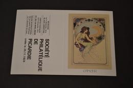 Mini Calendrier 1984 Signe Zodiaque Cancer Mucha Société Philatélique De Picardie - Calendriers