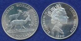 Cook-Islands 50 Dollar 1990 Grantgazellen Ag92519,7g - Cook