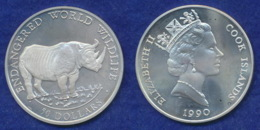 Cook-Islands 50 Dollar 1990 Spitzmaulnashorn Ag92519,3g - Cook