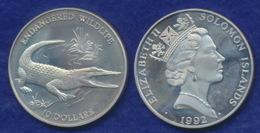 Salomonen 10 Dollar 1992 Leistenkrokodil Ag925 31,4g - Salomon