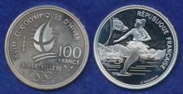 Frankreich 100 Francs 1989 Albertville 1992 Ag900 22,2g - Frankreich
