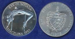 Cuba 10 Pesos 1990 Olympia Barcelona 1992 Ag925 28g - Cuba