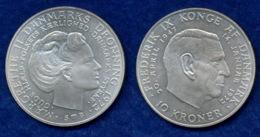 Dänemark 10 Kronen 1972 Frederik/Margarethe Ag800 20,4g - Danemark