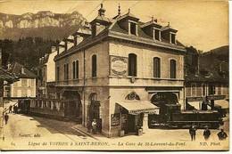 12547 - Isére -  SAINT LAURENT Du PONT  :   LA GARE  ( Rare Train Qui Passe Sous La Gare) Circulée 1919 - Saint-Laurent-du-Pont