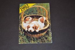 Mini Calendrier 1992 Chiots Dans Un Panier - Calendriers