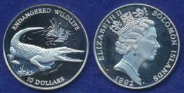 Salomon-Inseln 10 Dollar 1992 Leistenkrokodil Ag925 31,4g - Salomon