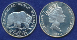 Cook Islands 50 Dollar 1990 Grizzly Ag925 19,2g - Cook