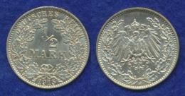 Deutsches Reich 1/2 Mark 1915J Reichsadler Ag900 - [ 2] 1871-1918: Deutsches Kaiserreich