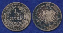 Deutsches Reich 1/2 Mark 1919F Reichsadler Ag900 - [ 2] 1871-1918: Deutsches Kaiserreich