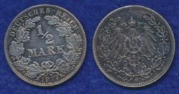 Deutsches Reich 1/2 Mark 1917G Reichsadler Ag900 - [ 2] 1871-1918: Deutsches Kaiserreich