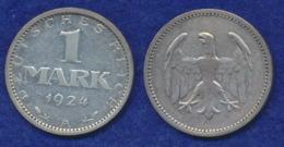 Deutsches Reich 1 Mark 1924A Reichsadler Ag500 - [ 3] 1918-1933: Weimarer Republik