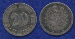 Deutsches Reich 20 Pfennig 1876B Reichsadler Ag900 - [ 2] 1871-1918: Deutsches Kaiserreich
