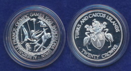 Turks And Caicos Islands 20 Crowns 1992 Versch. Sportarten Ag999 1oz - Turks & Caicos (Inseln)