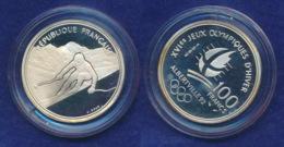 Frankreich 100 Franc 1989 Abfahrtslauf Ag900 12,2g - Gedenkmünzen