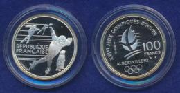 Frankreich 100 Franc 1990 Eisschnelllauf Ag900 12,2g - Gedenkmünzen