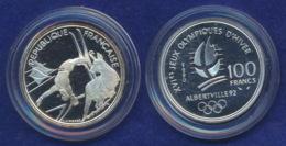 Frankreich 100 Franc 1990 Skiläufer Ag900 12,2g - Gedenkmünzen