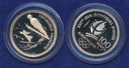 Frankreich 100 Franc 1991 Skispringen Ag900 12,2g - Gedenkmünzen