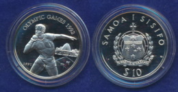 Samoa 10 Dollar 1991 Kugelstoßen Ag925 31,5g - Samoa