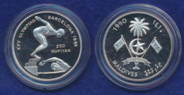Malediven 250 Rupies 1990 Schwimmstaffel Ag925 31,4g - Maldives