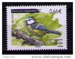 ANDORRA FRANCESA 2014 - FAUNA PAJARO - TINTIPELLA - CYANISTES CAERULEUS  - 1 SELLO - Andorra Francesa