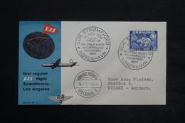 GROENLAND - Enveloppe 1 Er Vol Scandinavia / Los Angeles En 1954 , Affranchissement Plaisant - L 25053 - Briefe U. Dokumente
