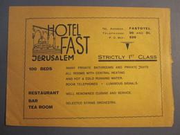 ISRAEL PALESTINE HOTEL FAST TIBERIAS JERUSALEM 1930 ADVERTISING DESIGN ORIGINAL - Advertising