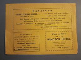 ISRAEL PALESTINE SIRIA HAIFA HOTEL WINDSOR ORIENT PALACE DAMASCUS MUNARI JERUSALEM 1930 ADVERTISING DESIGN ORIGINAL - Advertising