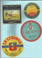 70 - Haute Saone - Luxeuil - Frasne - Orsat - Fleurey  - Lot De 4  étiquettes Fromage - Déco Cuisine - - Publicités