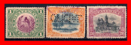 GUATEMALA (AMERICA DEL NORTE) 3 SELLOS AÑO 1902 SÍMBOLOS NACIONALES. - Guatemala