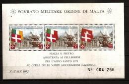 Ordre De Malte 1975 N° Feuille F 116 ** Année Sainte, Drapeau, Saint-Pierre De Rome, Fontaine, Noël, Irlande, Suisse - Malte (Ordre De)