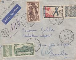 LETTRE. COVER. REUNION. 1938. PAR AVION. RECOMMANDÉ PROVISOIRE + GRIFFE SAINT-DENIS POUR MARSEILLE - Reunion Island (1852-1975)