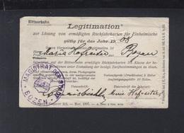 Italien Italia Tirol Legitimation Fahrkarten Rittnerbahn Bozen Bolzano 1908 Eisenbahn - Biglietti Di Trasporto