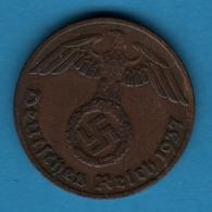 DEUTSCHES REICH 1 REICHSPFENNIG  1937 A  KM# 89 (svastika) - 1 Reichspfennig