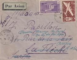 LETTRE. COVER. REUNION. PAR AVION. 1945. 8 Fr.  SAINTE-ANNE POUR LA FLECHE REDIRIGEE ANGERS - Reunion Island (1852-1975)