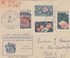 LETTRE. COVER. NOUVELLE CALEDONIE. 1959. AQUARIUM DE NOUMEA. PREMIER JOUR.  POUR LA FRANCE - Briefe U. Dokumente