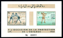 Afghanistan UNICEF Ovpt Imperforate Souvenir Sheet Block Wrestlers Indian Clubs MNH 1961 A04s - Afghanistan