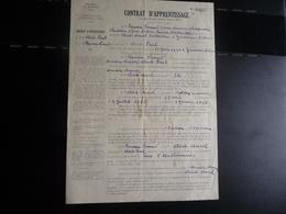 CONTRAT D'APPRENTISSAGE D'un Menuisier-Charpentier En 1945 -Département De La Drôme. - Petits Métiers