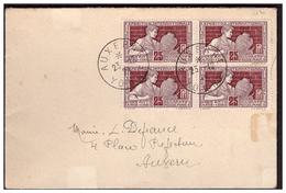 Bloc De 4 Du N° 212 Sur Lettre D'AUXERRE Pour AUXERRE Du 23.12.24. - Covers & Documents