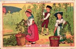 1 Postcard Advertising PUB Chocolat Lombart Le Houblon Hop Alsace Picking Hop Signed BB Litho Bier Bière Beer - Autres Collections