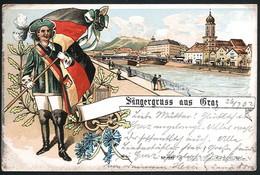 AK/CP Litho Graz Sängerfest    Gel./circ. 1902  Erhaltung/Cond.  2/2-   Nr. 00639 - Graz