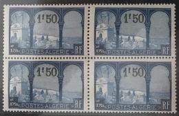ALGÉRIE / ALGERIA 1927 - YT77+77a** - BLOC DE 4 - VUE PRISE DE MUSTAPHA SUPERIEUR - VARIETE CINQUIEME ARBRE - Neufs