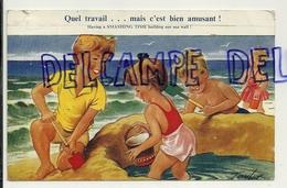 """Enfants à La Plage. Chaâteau De Sable. """"Quel Travail ..."""". 1958. Signée Taylor - Taylor"""
