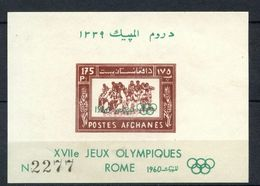 Afghanistan 483a Olympics Rome Imperforate Souvenir Sheet Block MNH 1960 A04s - Afghanistan