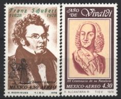 Mexico - Mexique 1978 Airmail Yvert 494-95, Music Composers. Franz Schubert / Antonio Vivaldi - MNH - Mexico