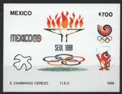 Mexico - Mexique 1988 Yvert BF 34, Summer Olympic Games, Seoul - Miniature Sheet - MNH - México